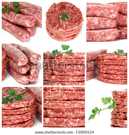 a collage of nine pictures of different minced meat products - stock photo