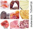 a collage of nine pictures of different spanish embutido and tapas - stock photo