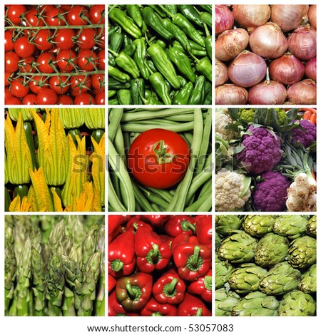 a collage of nine pictures of different vegetables - stock photo