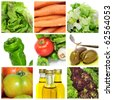 a collage of nine pictures of different vegetables to make a salad - stock photo