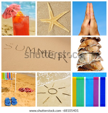 a collage of nine pictures of many beach items and scenes - stock photo