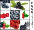 A collage of photos about berries fruits - stock photo