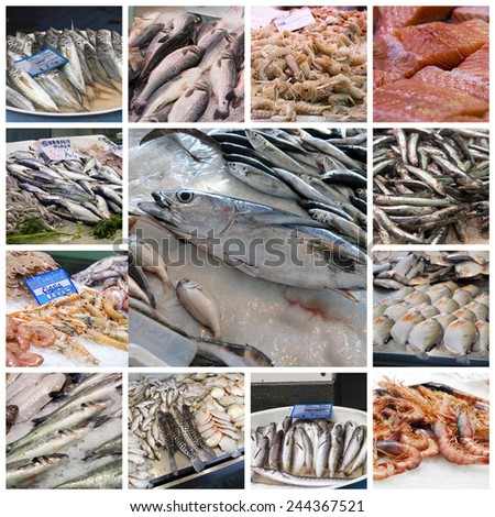 A collage of photos about fish market