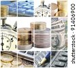 A collage of photos on the subject of business, time and money - stock photo