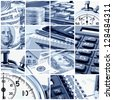 A collage of photos on the subject of business, time and money. Blue tone - stock photo