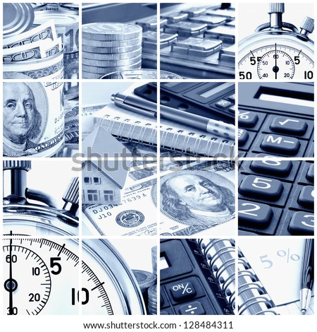 A collage of photos on the subject of business, time and money. Blue tone