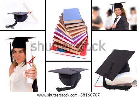 A collage of pictures connected with student graduation. Graduation hat, diploma, happy student with diploma - stock photo