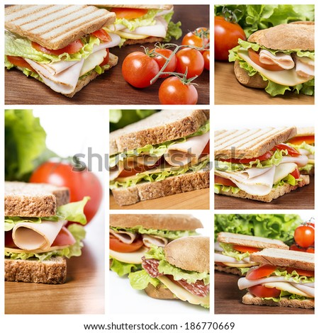 A collage of sandwich photos - stock photo
