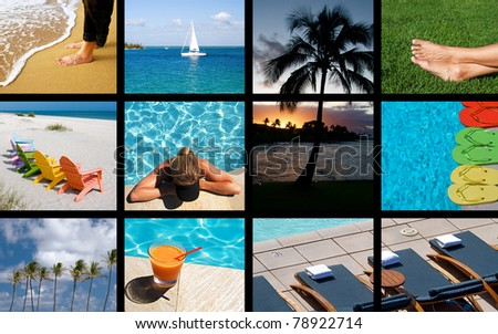 A collage of scenic images for a relaxing summer