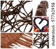 a collage of several pictures of different products made with cocoa - stock photo