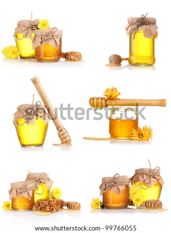 a collage of six compositions of jars of honey isolated on white - stock photo