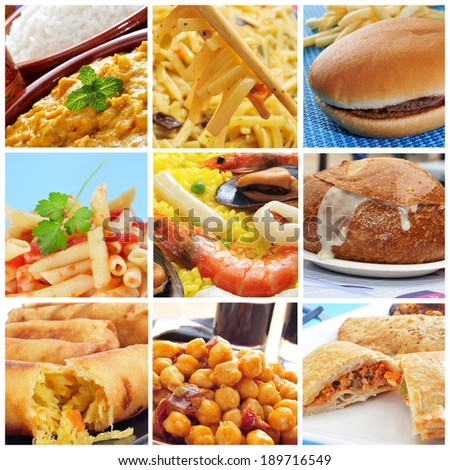 a collage of some dishes of different countries, such as spanish paella, american clam chowder and chinese springrolls