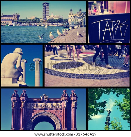a collage of some pictures of different landmarks in Barcelona, Spain, such as the the Port Vell, the Columbus Monument, the Arc del Triomf or the Ramblas, cross processed - stock photo