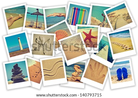 a collage of some pictures of different scenes about summer on the beach concept - stock photo