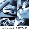 A collage of technology related images showing people working with computers in blue tone - stock photo