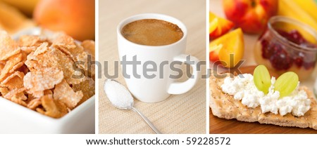 a collage of three pictures of breakfast - stock photo