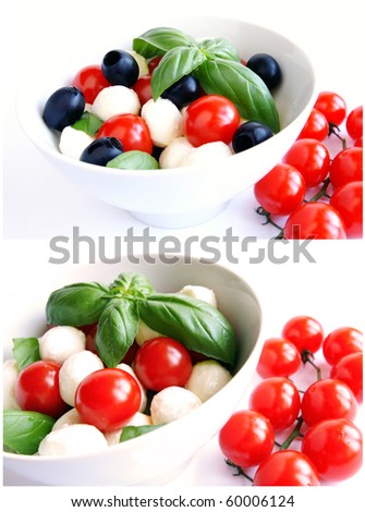 A collage of two images with mozzarella boconccini cheese balls with cherry tomatoes, black olives and green fresh basil in a salad bowl on white blur background