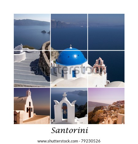 A collage of various images from the Greek paradise island of Santorini. - stock photo