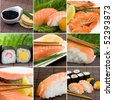 a collage photo of seafood, sushi, salmon and shrimps - stock photo