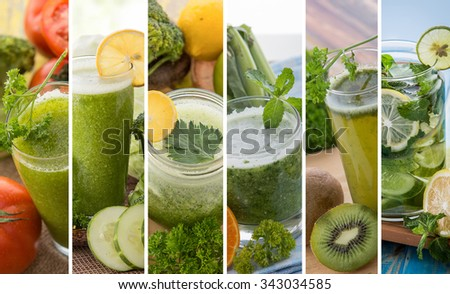 A collage portrait of various green color juices from tropical fruit - stock photo