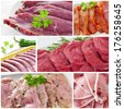 a collage with some pictures of different raw meat and sausages - stock photo
