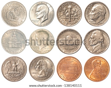 a collection of all the circulating coins in the united states + half dollar & 1 dollar coin - high quality - 6400X4800 - stock photo