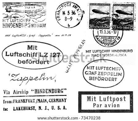 A collection of black and white postmarks and related markings from mail carried on the Hindenburg and Graf Zeppelin in the 1930s. Isolated on white.