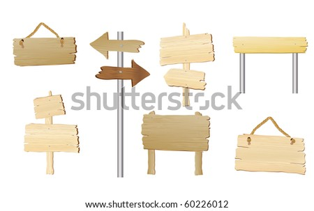 A collection of blank wood signs with space for text. Also available in vector format. - stock photo