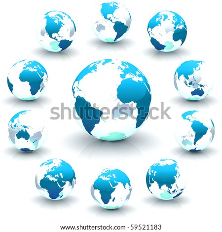 A collection of blue continents-only globe marble illustrations - stock photo