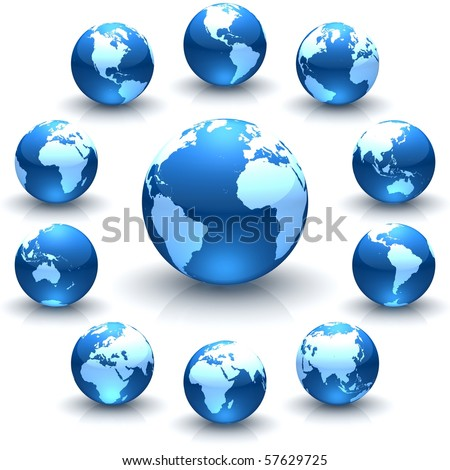 A collection of blue globe marble illustrations - stock photo