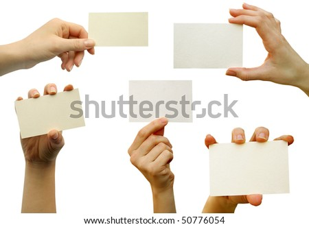 a collection of card blanks in a hand - stock photo