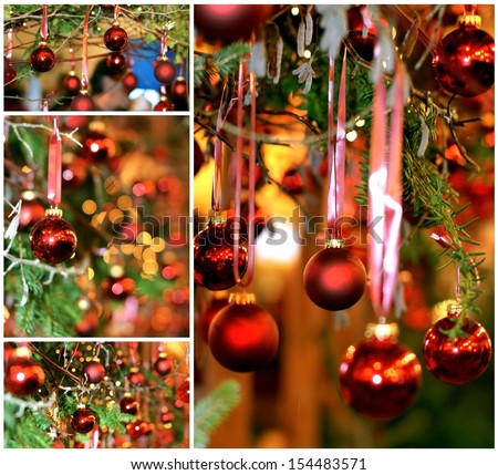 A collection of christmas images showing red ornaments / balls , christmas lights and colorful ribbons ; all decorations for the holidays