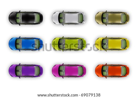 A collection of colorful cars isolated on white - stock photo
