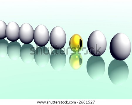 A collection of colorful Easter eggs. 3D rendering.