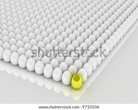 A collection of colorful Easter eggs. 3D rendering. - stock photo