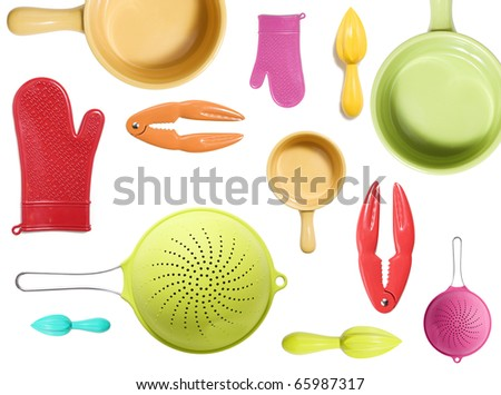 a collection of colorful kitchen appliance