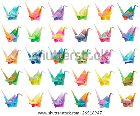 A collection of 30 colorful origami birds. They're all isolated on a pure white background therefore easy to be rearranged into different patterns - stock photo