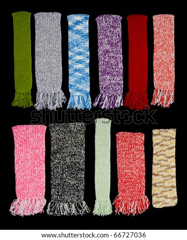 a collection of colorful scarfs isolated on black background - stock photo