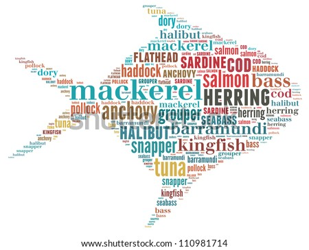 collection commercial fish text graphics stock illustration