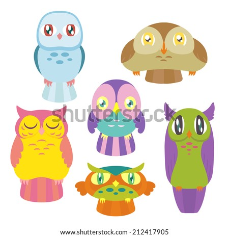 A collection of 6 cute colorful owls of different shapes and sizes. Raster. - stock photo