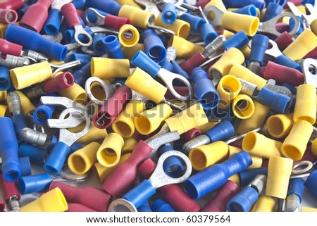 a collection of different cable connectors in various colours - stock photo