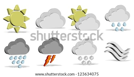 A collection of different 3d weather icons / Weather icons set - stock photo