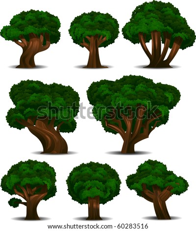 A collection of 8 different trees isolated on white. - stock photo