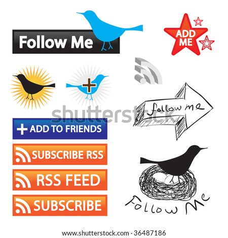 A collection of feed buttons for social networking and blogging. - stock photo