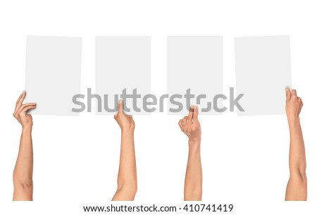 a collection of female hands holding paper isolated on white background - stock photo