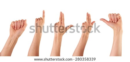 A collection of female hands pointing isolated on a white background. - stock photo