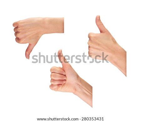 A collection of female hands with their thumbs up and down isolated on a white background.