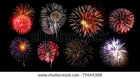 A collection of fireworks on a black background