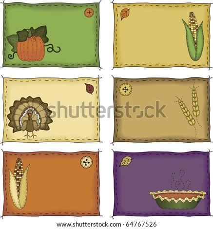 A collection of folk art styled autumn and Thanksgiving name tags or placecards