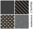 A collection of four different carbon fiber patterns.  Each tiles seamlessly as a pattern.  Full size versions also available in my portfolio. - stock photo